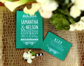Vintage wedding Invitation, Emerald Green,  RSVP - Thank you card - label - DIY Printable - Customized cottage chic