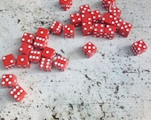Lot of 25 Vintage Red Dice/Mixed Media Suppies/Jar Filler
