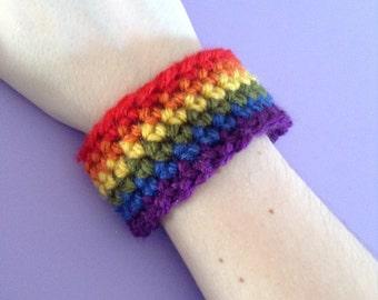 Crocheted LGBT Gay Pride Rainbow Wristband