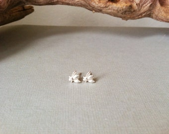 SALE - Sterling Silver Honey Bee Earrings / posts, studs, sterling silver studs, simple. minimalist, modern