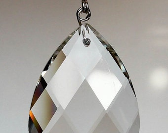 10 Clear TOP QUALITY Ex Large Glass Chandelier Teardrop Diamond Cut Crystal Prisms Hanging Drops