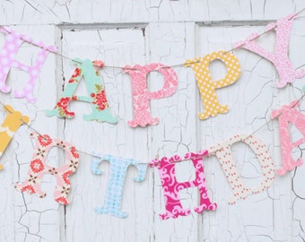 HAPPY BIRTHDAY BANNER Fabric Bunting You Pick Fabric Personalized
