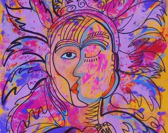 "Original art sun moon duality bright colors faces acrylic painting on paper 19.5"" x 25.5"""