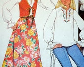 Another pleasant peasant skirt blouse and vest pattern with embroidery transfers McCalls 5519
