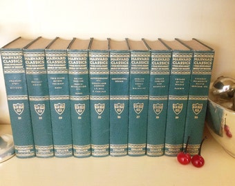10 Vintage Books Collection Harvard Classics Green 1930s Excellent Condition Forest Green