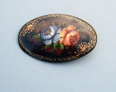 Victorian Black Lacquered Flower Brooch Pin Dated 1895 Vintage Antique Hand Painted