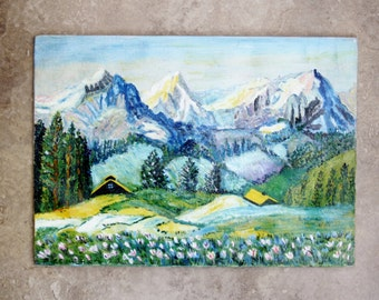 1950s Abstract Painting of Mountains Original Art Landscape Oil Home Decor Wall Hanging