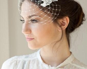 Lace birdcage veil, petite birdcage veil with ivory silver lace, Wedding Veil