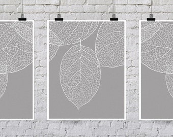 True Gray - Leaf Wall Art - Set of Three Prints - West Elm Leaves