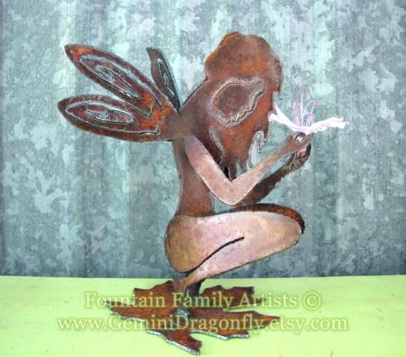 Rusty Garden Fairy Recycled Metal Garden Art or Nursery Decor