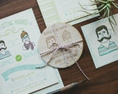 Rustic Wedding Invitation: Custom illustration invitation, Bohemian Style