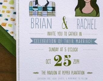 Custom Illustration Wedding Invitation