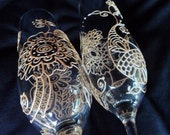 CUSTOM Champagne toasting flutes (2) in Henna style designs PERSONALIZED(option)Unique WEDDING, Bollywood event, bride groom toasting flutes