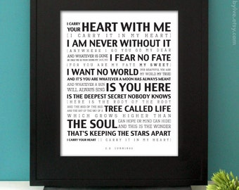 I carry your heart with me. EE Cummings poem. Inspirational Quote. Subway Art. Unframed.