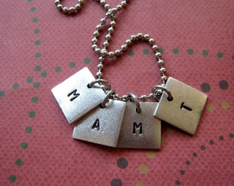 Hand stamped initial tag necklace small squares mothers friends gift