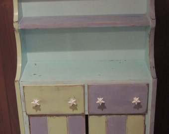 Reclaimed, Distressed, Blue, Green & Purple 4 Foot Hutch - Only Ships Locally Schaumburg, IL