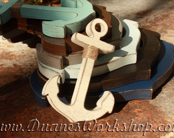 Wood Anchor Nautical Anchor Rustic painted and aged 6 - 12 inches Anchor