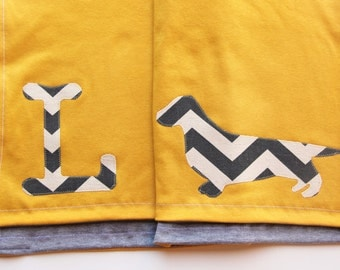 Dachshund Baby Blanket With Monogram, Jersey Cotton Dachshund Blanket, Wiener Dog Blanket, Lightweight Baby Blanket