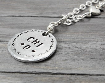 Chi Omega Necklace, Chi O Necklace, Stamped Sorority Necklace, Custom Sorority Jewelry, Personalized Jewelry