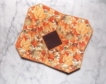 Fall Leaves and Acorns Fabric Bowl