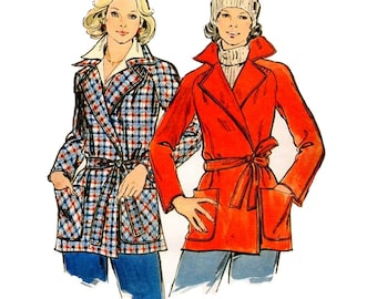 Retro Style Wrap Coat 70s Butterick 3914 Sewing Pattern Notched Collar Double Breasted Jacket Raglan Sleeves Uncut FF Plus Size Bust 38