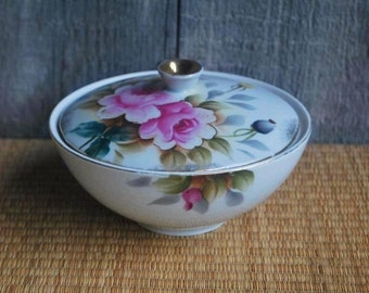 vintage covered candy / vanity dish - white porcelain with flowers