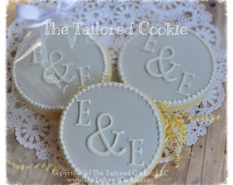 Bridal Shower, Wedding, Monogram, Personalized Preppy Decorated Wedding Party Cookies, FAVORS