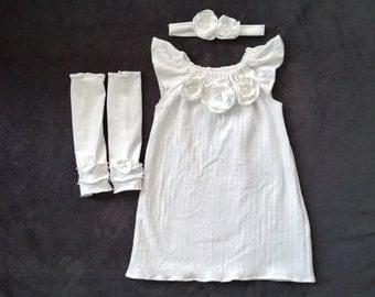 Baby Girl Baptism Dress, Baby Girl Christening Dress, Blessing Dress, White Dress, Flower Girl Dress