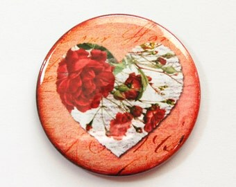 Valentine pocket mirror, Heart, pocket mirror, Valentines Day, mirror, purse mirror, bridesmaids gift, gift for her, floral heart (3504)