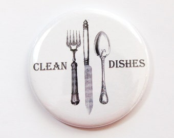 Dishwasher magnet, Clean Dishes, Clean Dishes Magnet, Knife, Fork, Spoon, kitchen magnet, Kitchen, Clean, Kellys Magnets, White (3738)