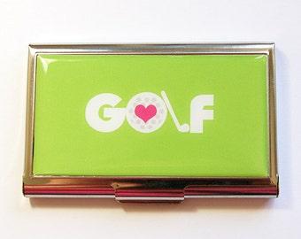 Business card holder, Business Card Case, Card case, Golf, Green case, Green, Card case for her, Golfer, Golf Lover, Gift for her (4332)