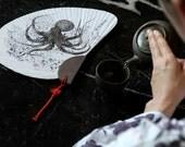 OCTOPUS GYOTAKU Sensu Japanese Hand Fan - Unique and Beautiful