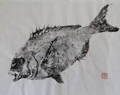 RED SEA BREAM (Tai)  Original Gyotaku - traditional Japanese fish art by dowaito