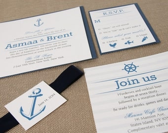 Anchor Wedding Invitation Suite- Square- Navy, Marine, Yacht Club- Navy Blue and Gray