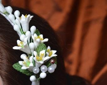 Wedding Headpiece made w Wax - corona de Azahares -( vintage inspired ) ready to ship!