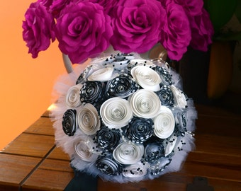 Wedding Bouquet, Music Notes Bouquet With Clear Crystals - bride, bridesmaid, ceremony