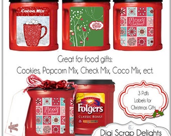 Printable Christmas Labels. Recycle Folgers Coffee Cans  DIY You Print 3 8.5x11 PDF, Instant Download