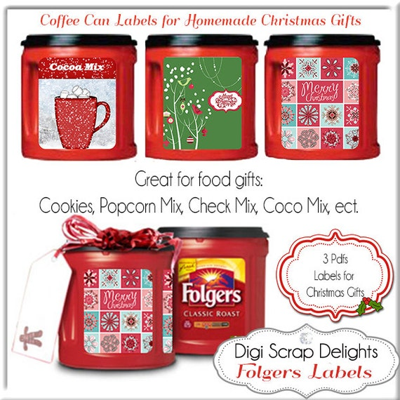 Printable Christmas Labels Recycle Folgers Coffee Cans Diy