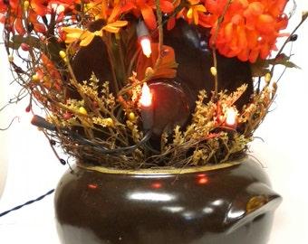 Lighted Floral Arrangement in Vintage Bean Pot, Fall Lighted Flower Arrangements, Halloween Decor