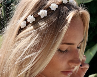 Flower crown, flower headband, white rose crown, coachella crown, festival flower crown, wedding crown, flower halo, bridal flower crown