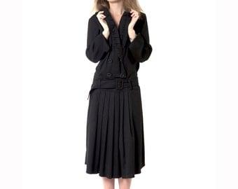 Super-Elegant Dress, Black Dress, Vintage Designed Dress, Long Dress, Wool and Polyester, Tailored & Impressive Look, Open Collar,Wrap Style