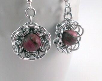 Chainmaille Helm Flower Earrings with Rhodonite
