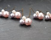 pearl clusters pink lavender and ivory,hair pin, wedding hair, bridal hair accessory, brides bridesmaid prom