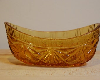 Vintage 1940s amber cut glass boat dish for sweets, jewellery or trinkets