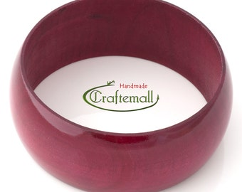 Clearance: Wooden bangle - cranberry red bangle made of wood - size S