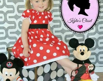 RED Minnie Mouse-inspired Peasant Dress or Costume - Lace - Ribbon Belt - Polka Dots - Birthday - Party - Gift