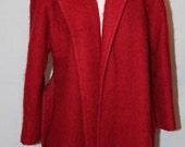Vintage 60's Red Wool Long Tie Waist Coat - Doncaster Custom Cut - Size 12
