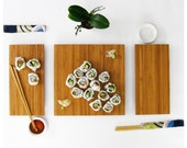 Sushi Serving Set - salvaged bamboo serving tray and individual plates modern minimalist