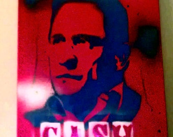 Red White & Blue Johnny Cash Spray Paint on Canvas 16x20