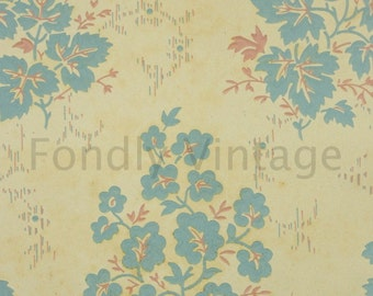 Build Your Own Custom Sample Vintage Wallpaper Packet - Single Scrap Sheet, 8 1/2 in. x 10 1/2 in. Page - 1920's Blue and Pink Leaves on Tan